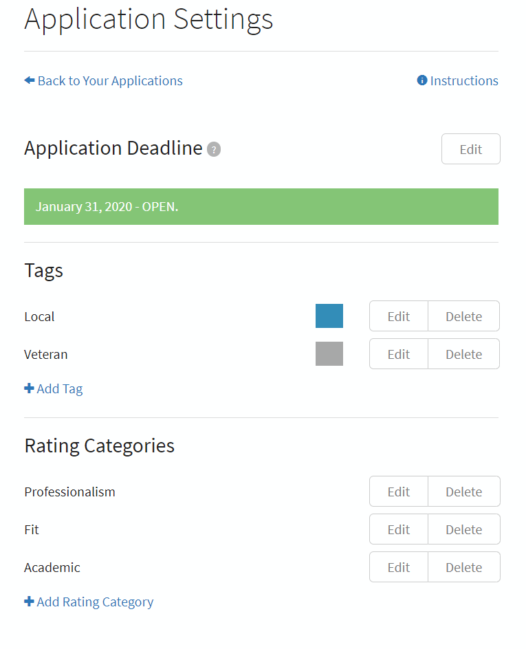 Overview of Application Settings page
