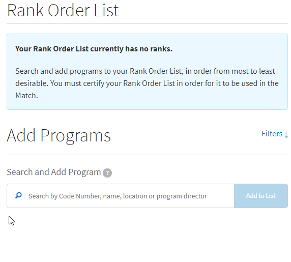 add program to rank order list