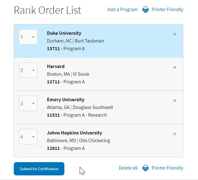 certify rank order list