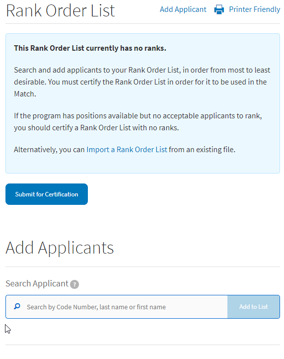 Add applicants to your Rank Order List